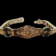 14 Karat White Gold Deco Diamond and Chrysoprase Bracelet