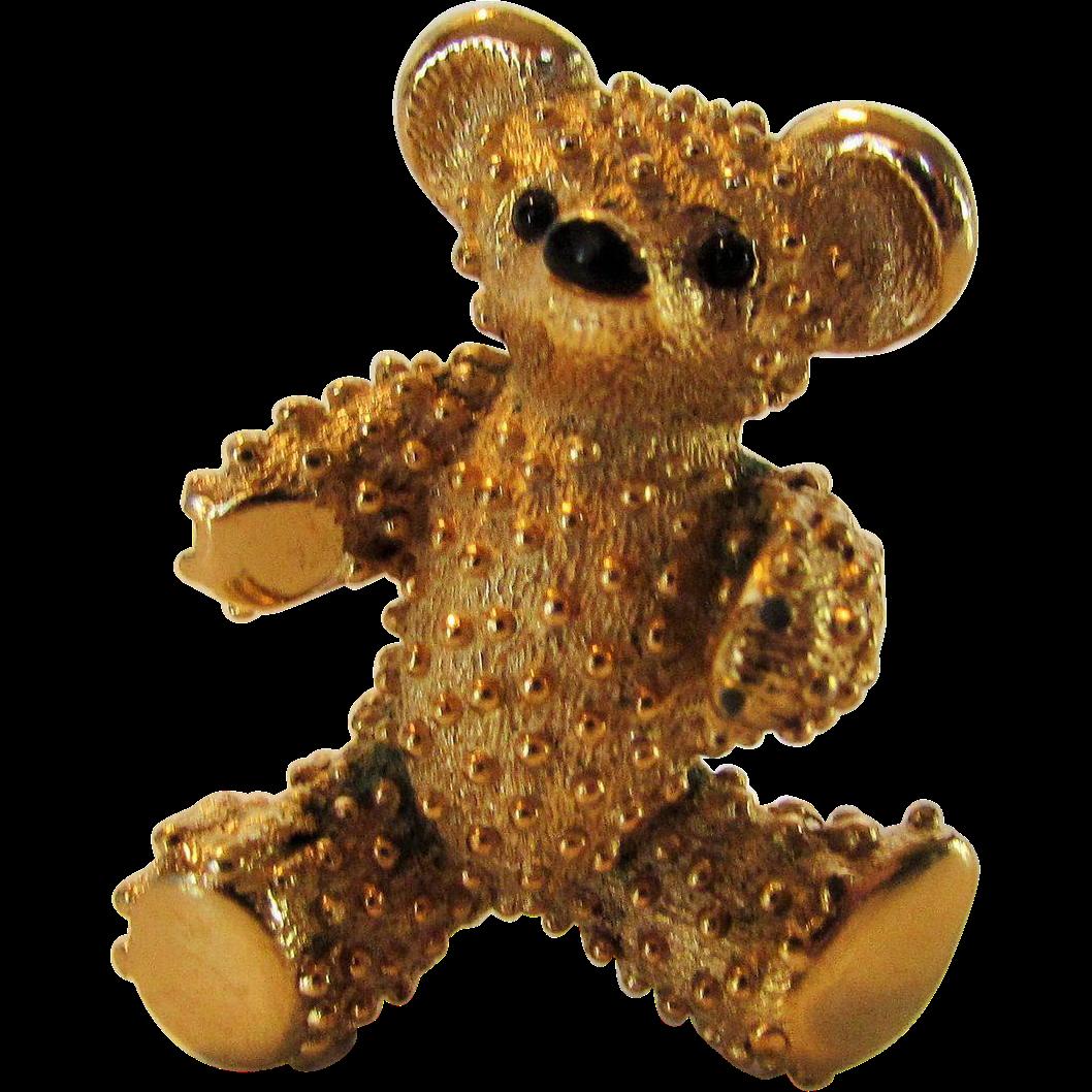 Boucher Black Flower Rose Pin Brooch Signed Numbered: Vintage Boucher Signed And Numbered Goldtone Teddy Bear