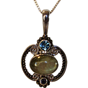 Sterling Silver Sajen Pendant With Labradorite, Blue Topaz and Amethyst On Sterling Silver Chain