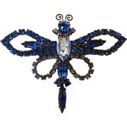 Vintage Blue Crystal Dragonfly Pin