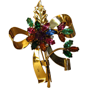 Sterling Silver Coro 1940's in Gold Wash Pin With a Variety of Colored Crystals