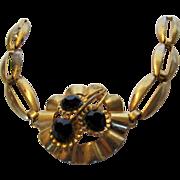 Vintage 1940's Goldtone Bracelet with Center Faux Onyx