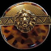 Vintage Designer Signed Faux Tortoise Shell Pin With Goldtone Lion