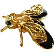 Vintage Swarovski Bee With Black Enamelling and Crystal Body and Wings in Goldtone