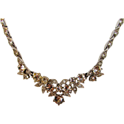 Vintage Signed Bogoff Mid Century Clear Crystal Necklace in Silver Tone