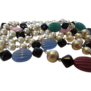 "Vintage Faux Pearl and Variety of Art Glass Bead 58"" Necklace"