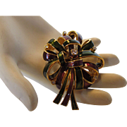 Vintage Early Joan Rivers Green, Burgundy  and Goldtone Enamelled Bow PIn