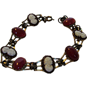 Vintage Goldtone Bracelet With Faux Cameos and Faux Carrnelian Stones