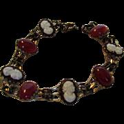 Vintage Goldtone Bracelet With Faux Cameos and Faux Carrnelian Stones