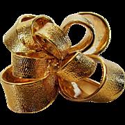 Vintage KJL Brushed Goldtone Bow Pin