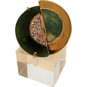 14 Karat Yellow Gold Yin and Yang Jadite and Diamond Ring