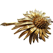 Vintage Signed And Numbered Boucher Flower Pin With Faux Pearl Center