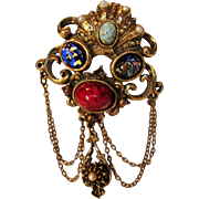 Vintage Detailed Unsigned  Pin of Art Glass, Stone Accents, Faux Pearls and Hanging Chains