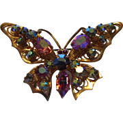 Vintage Signed Austrian Goldtone Filagree Bejewelled Butterfly Pin With Aurora Borealis Crystals