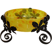 Yellow Orange Art Glass Bowl in Bronzed Metal Floral Mount Signed Made In France