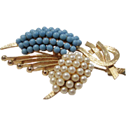 Vintage Ledo dated 1962 Abstract BIrd Pin with Faux Pearl and Faux Turquoise Beads on Goldtone