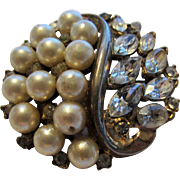 Vintage Trifari Goldtone Pin With Faux Pearl and Marquis Crystals