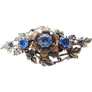 Vintage Silver Tone Pin With Three Large Blue Crystals