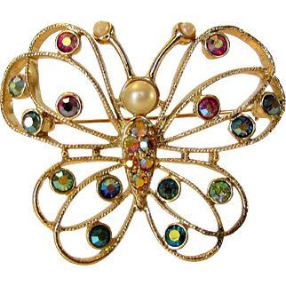 Vintage Emmons Butterfly Pin With A Variety of Crystal Accents