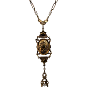 Vintage Victorian Revival Goldtone Locket Necklace With Faux Pearl Accents