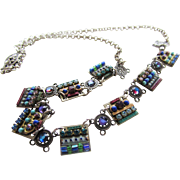 Vintage Unique and Petite Silver Tone Necklace With Beautiful Inlaid Crystals Made in Israel