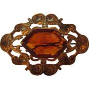 Vintage Nouveau C Clasp Goldtone Pin With Large Faux Citrine Unbacked Crystal