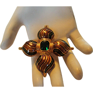 Vintage Early Joan Rivers  Goldtone Costume Pin With Rich Multi Tone Enamelling and A Dark Green Center Crystal