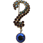 Vintage Weiss Question Mark Pin Enhanced with Aurora Borealis Crystals