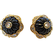 Vintage Early Joan Rivers  Goldtone Pierced Earrings With Faux Onyx and Clear Crystals