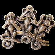 Vintage Danecraft Pewter See No Hear No Speak No Evil Monkey Pin