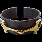 Vintage Ralph Lauren Signature Leather Cuff With Goldtone Stirrups