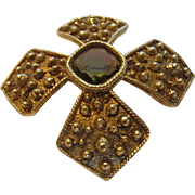Vintage Goldtone Pin Signed With Faux Amber Center