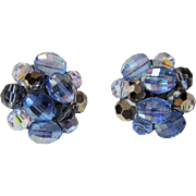 Vintage Signed Schiaparelli Blue Hue Clip Earrings With Blue Aurora Borealis Crystals
