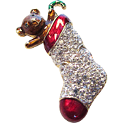 Signed Carolee Christmas Stocking Pin With Pave Crystals and Rich Enamelling