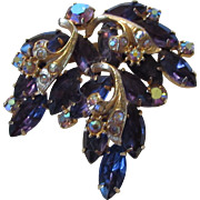 Vintage Deep Purple Crystal and Aurora Borealis Crystal Pin With Goldtone Accents