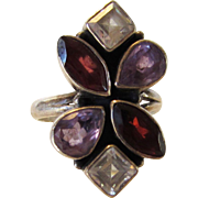 Sterling Silver Ring With Garnets, Amethysts and Clear Crystals