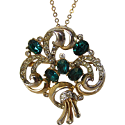 Vintage Jolle Mid Century  Pin or Pendant on a Goldtone Chain With Faux Emerald Crystals
