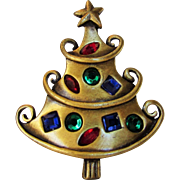 Vintage JJ Christmas Tree Pin in Burnished Goldtone With Gem Colored Crystals