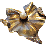 Vintage Signed Art Bronze Tone Floral Pin With Faux Pearl and Clear Crystals