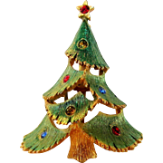 Vintage JJ Green Enamelled Christmas Tree Pin With Variety of Crystals