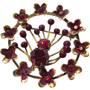 Vintage Austrian Goldtone Pin Enhanced With Red Faceted and Cabochon Crystals