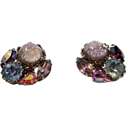 Vintage Weiss Confetti Clip Earrings in Pink, Blue and Purple Crystals