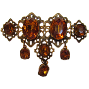 Vintage Late Victorian Filagree Goldtone Pin With Large Faux Amber Crystals