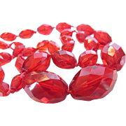 Vintage Opera Length Ruby Red Crystals Necklace
