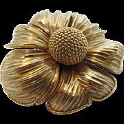 Vintage Lush Goldtone Statement Pin by Nettie Rosenstein in Floral Form