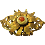 Vintage Brass and Art Glass Filagree Pin in Exotic Floral Design