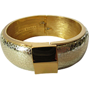 Vintage Vince Camuto Mixed Metal Wide Bangle with Textured Silver Tone and Goldtone Accents