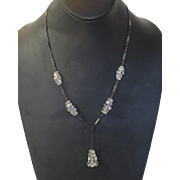 Vintage Deco Crystal Drop Necklace in Silver Tone Chain With Enamelled Segments