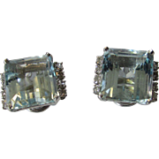 Vintage Silver Tone Clip  On Earrings With Blue Crystals