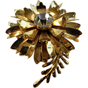 Vintage Eisenberg Ice Goldtone Floral Pin With Single Center Clear Crystal